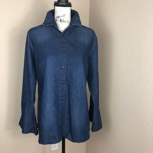 Lifestyle Denim Bell Sleeve High Low Top Shirt XL